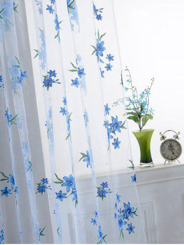 Shops Flower Embroider Sheer Fabric Voile Curtain - 100*200CM SKY BLUE Mobile