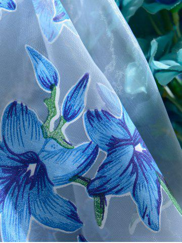 New Flower Embroider Sheer Fabric Voile Curtain - 100*200CM SKY BLUE Mobile