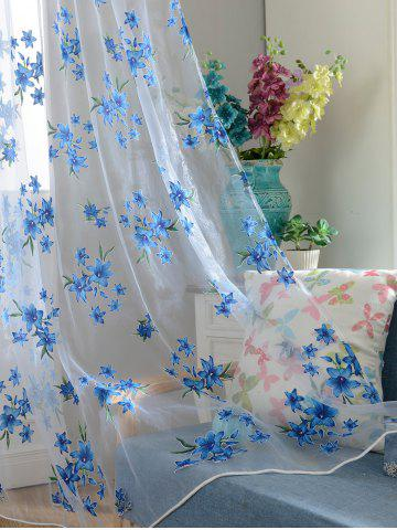 Outfit Flower Embroider Sheer Fabric Voile Curtain - 100*200CM SKY BLUE Mobile