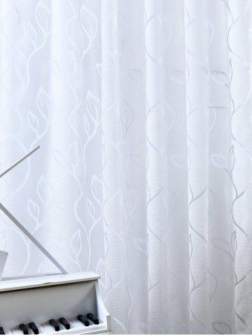 Shops Window Shading Leaf Embroider Tulle Curtain - 100*250CM CRYSTAL CREAM Mobile