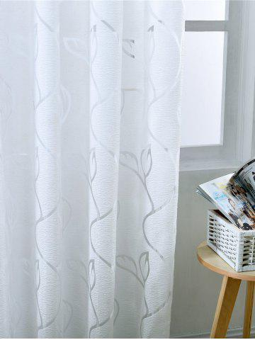 Outfit Window Shading Leaf Embroider Tulle Curtain - 100*250CM CRYSTAL CREAM Mobile