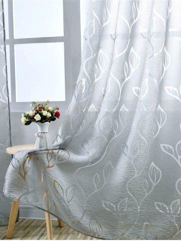 Best Window Shading Leaf Embroider Tulle Curtain - 100*250CM GRAY Mobile