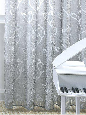 Shop Window Shading Leaf Embroider Tulle Curtain - 100*250CM GRAY Mobile