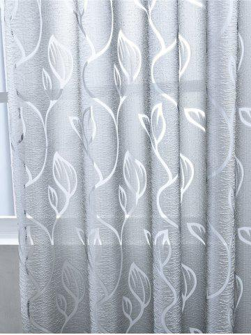Hot Window Shading Leaf Embroider Tulle Curtain - 100*250CM GRAY Mobile