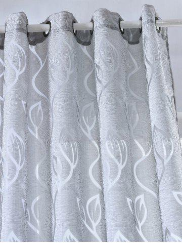 Store Window Shading Leaf Embroider Tulle Curtain - 100*250CM GRAY Mobile