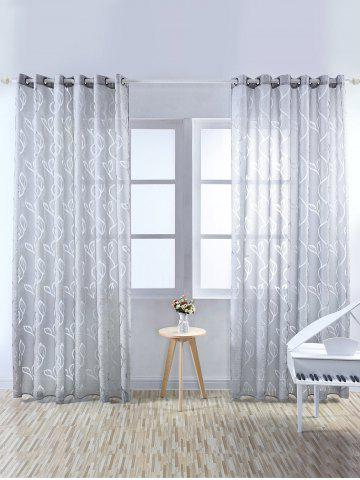 Window Shading Leaf Embroider Tulle Curtain - Gray - 100*250cm