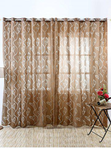 Store Window Shading Leaf Embroider Tulle Curtain COFFEE 100*250CM