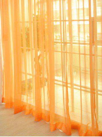 Sheer Window Tulle Fabric Curtain For Living Room - Orange - 100*270cm