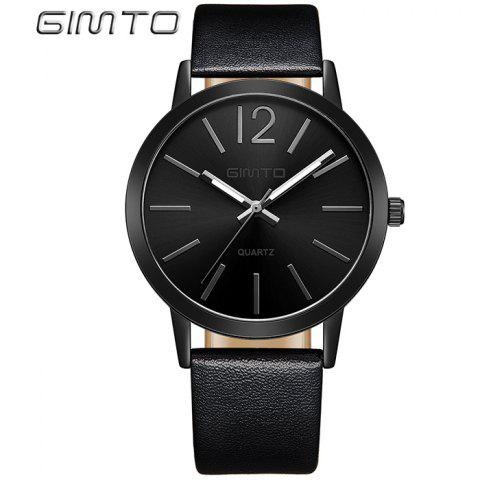 Fashion GIMTO Faux Leather Big Dial Quartz Watch BLACK