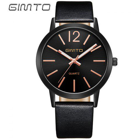 Cheap GIMTO Faux Leather Big Dial Quartz Watch