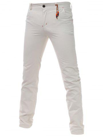 Bead Embellished Zip Fly Chino Pants