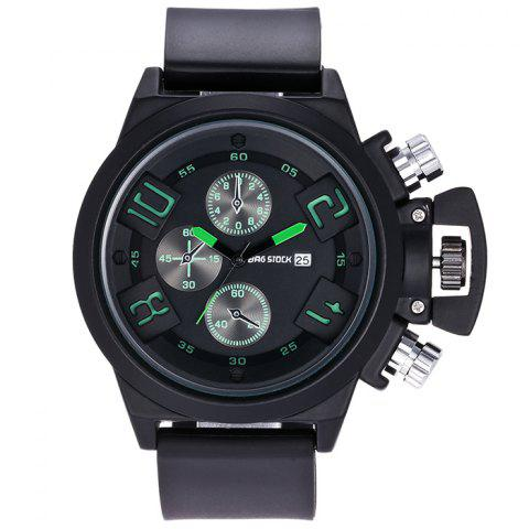 New BRG STOCK Funny Silicone Strap Date Watch GREEN