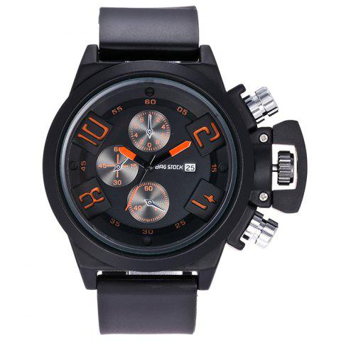 Buy BRG STOCK Funny Silicone Strap Date Watch ORANGE