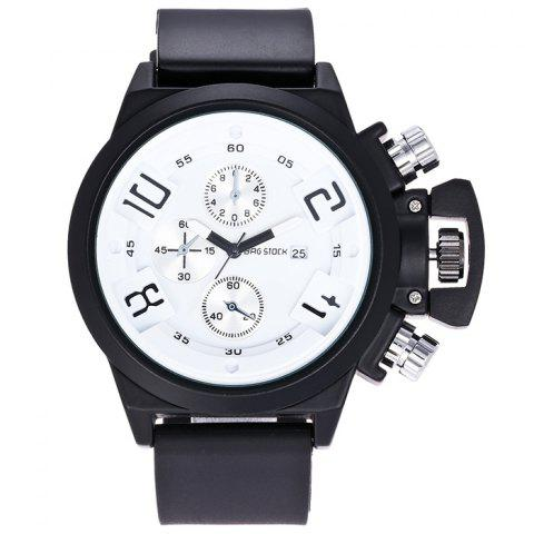 Outfit BRG STOCK Funny Silicone Strap Date Watch WHITE AND BLACK