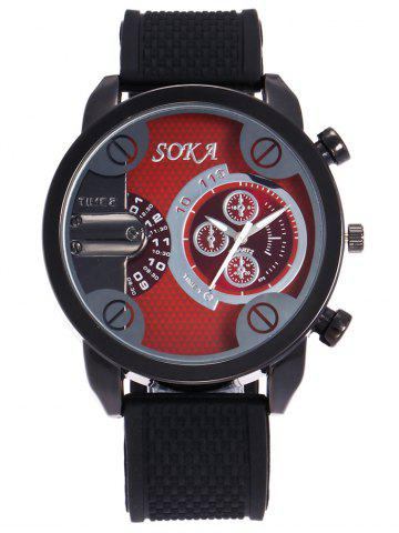 Discount Silica Gel Strap Analog Wrist Watch RED