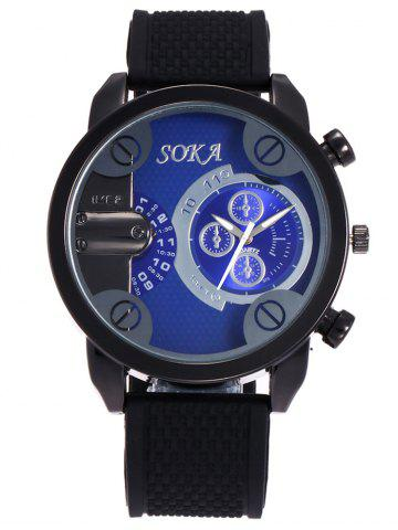 Affordable Silica Gel Strap Analog Wrist Watch BLUE