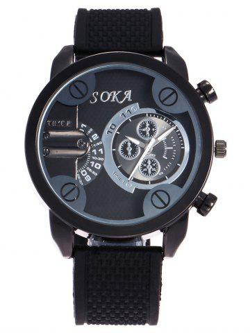 New Silica Gel Strap Analog Wrist Watch BLACK