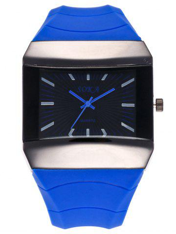 Silicone Strap Square Analog Watch - Blue - 43*43cm