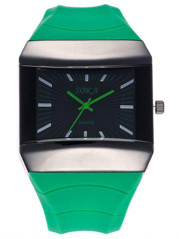 Cheap Silicone Strap Square Analog Watch GREEN