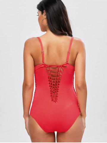 New Lace Up One Piece Padded Bra Swimsuit - XL RED Mobile