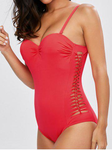 Trendy Lace Up One Piece Padded Bra Swimsuit - XL RED Mobile