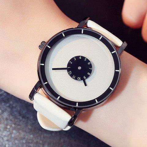 Shop GIMTO Faux Leather Analog Number Watch - WHITE  Mobile
