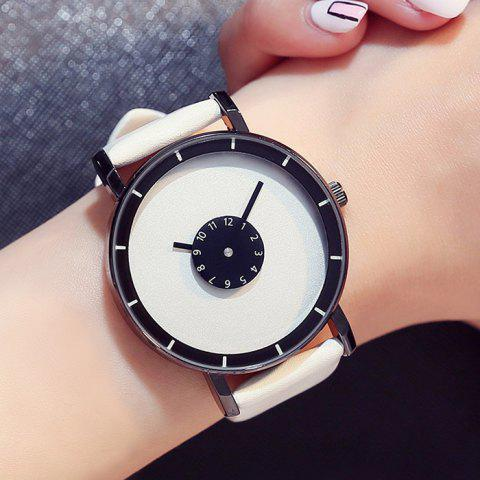 Hot GIMTO Faux Leather Analog Number Watch - WHITE  Mobile