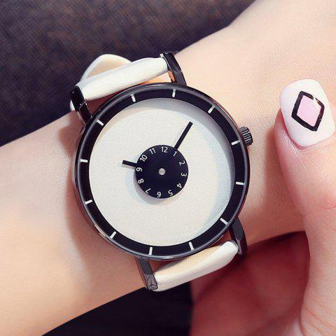 Discount GIMTO Faux Leather Analog Number Watch - WHITE  Mobile
