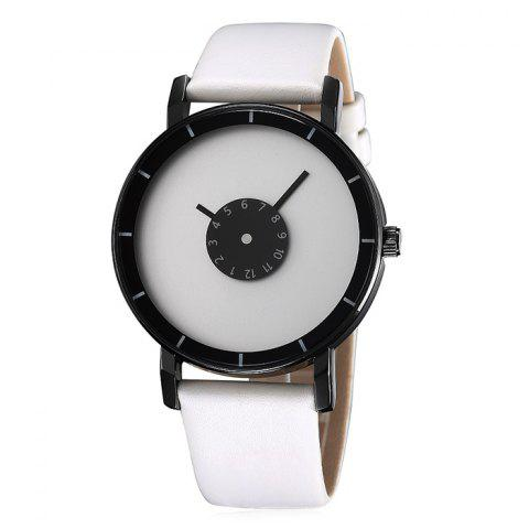 Online GIMTO Faux Leather Analog Number Watch - WHITE  Mobile