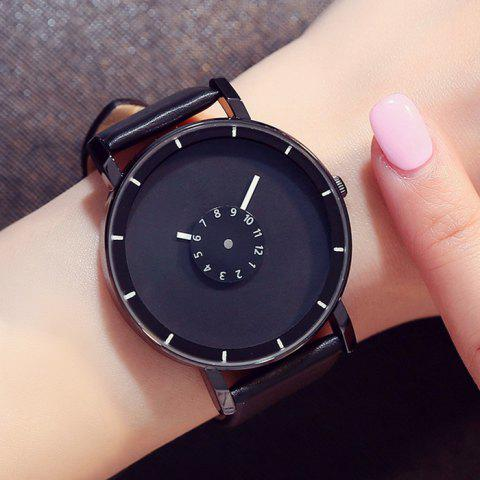 Fashion GIMTO Faux Leather Analog Number Watch - BLACK  Mobile
