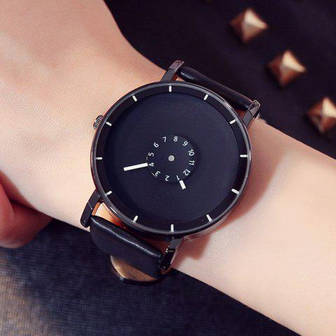 Shop GIMTO Faux Leather Analog Number Watch - BLACK  Mobile