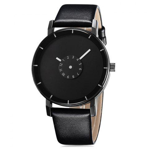 Discount GIMTO Faux Leather Analog Number Watch - BLACK  Mobile