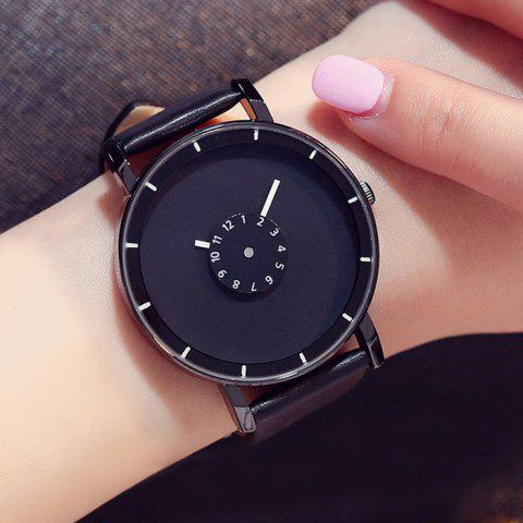 Hot GIMTO Faux Leather Analog Number Watch - BLACK  Mobile