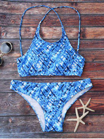New Straps Criss Cross Printed Bikini Set - L BLUE Mobile