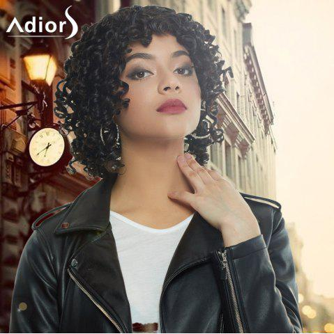 Latest Adiors Medium Afro Curly Side Bang Synthetic Capless Wig BLACK BROWN