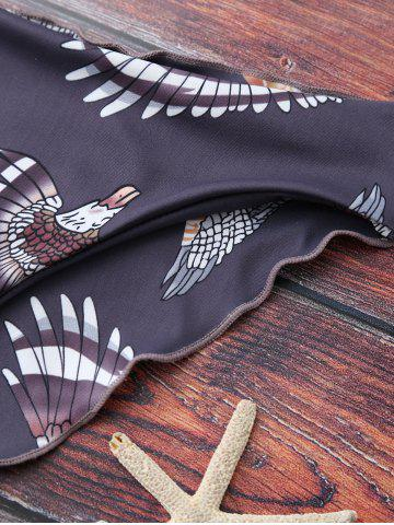 New Printed Graphic Wire Free Bathing Suit - M LIGHT PURPLE Mobile