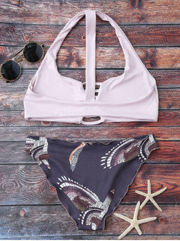 Chic Printed Graphic Wire Free Bathing Suit - M LIGHT PURPLE Mobile