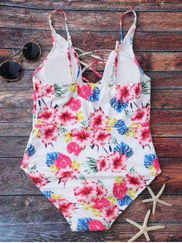 Trendy Floral Print Lace Up One Piece Swimsuit - M FLORAL Mobile