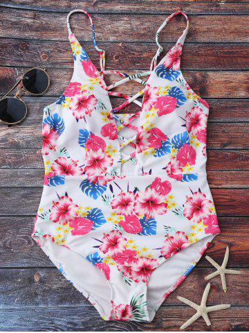 Chic Floral Print Lace Up One Piece Swimsuit - M FLORAL Mobile
