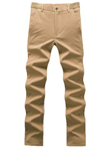Affordable Zipper Fly Plain Chino Pants - 30 KHAKI Mobile