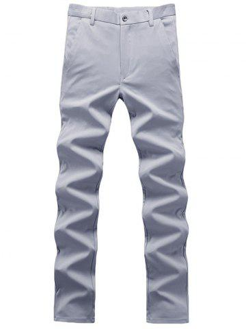 Online Zipper Fly Plain Chino Pants - 31 GRAY Mobile