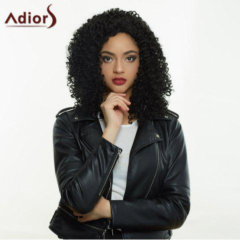 Hot Fashionable Black Long Fluffy Curly Side Parting Synthetic Wig For Women BLACK