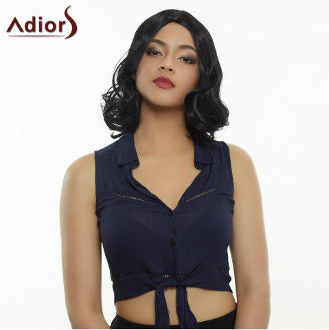Trendy Medium Curly Black Centre Parting Women's Synthetic Hair Wig - Black - 12inch