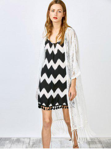 ad9880b6f440 ... Dress - WHITE - ONE SIZE.  3.99  33.75. Stylish Long Sleeve White Lace  Tassels Women s Cover Up
