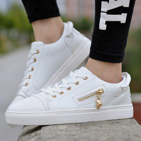 New Zipper PU Leather Casual Shoes - 42 WHITE Mobile