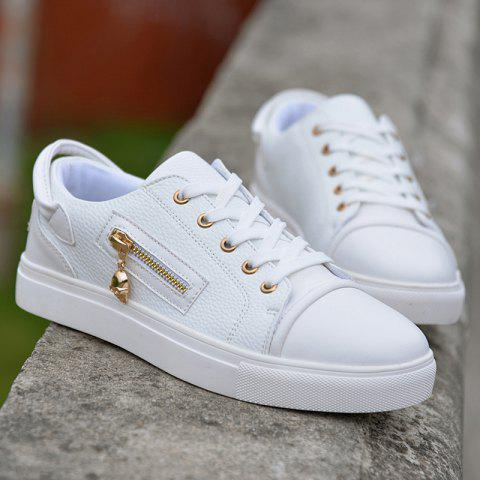 Affordable Zipper PU Leather Casual Shoes - 42 WHITE Mobile