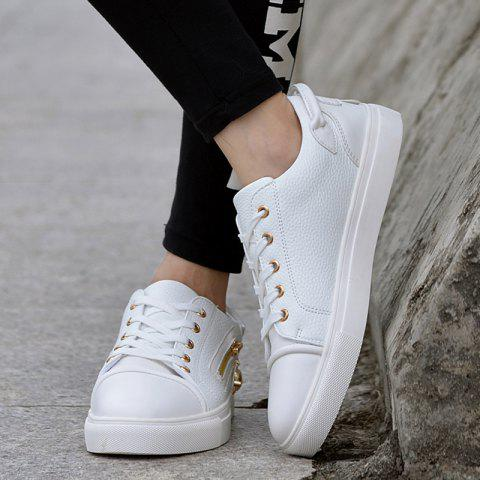 Trendy Zipper PU Leather Casual Shoes - 42 WHITE Mobile