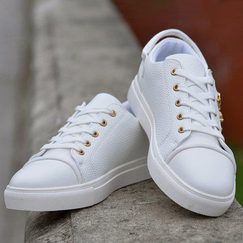 Shop Zipper PU Leather Casual Shoes - 42 WHITE Mobile