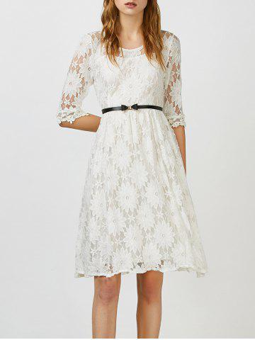 Outfit Beaded Lace Belted A Line Cocktail Dress - XL WHITE Mobile