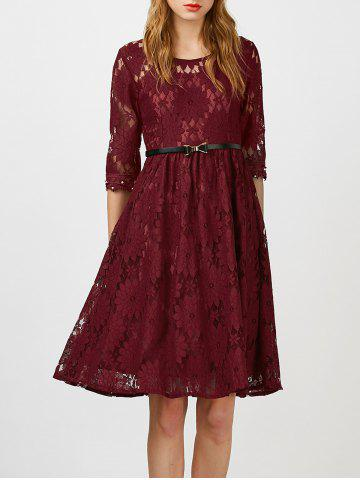 Beaded Lace Belted A Line Cocktail Dress - Wine Red - Xl